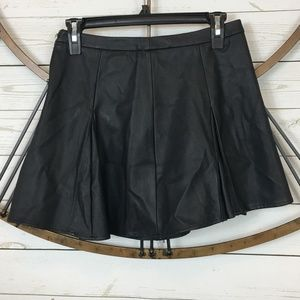 Nasty Gal Faux Leather Mini Skirt Black Pleated